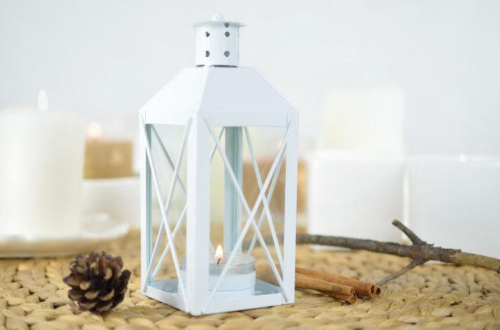 Lampion metalowy biały