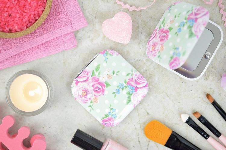 Lusterko kompaktowe Róże – kwadratowe