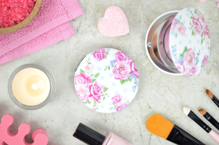 Lusterko kompaktowe Róże – okrągłe