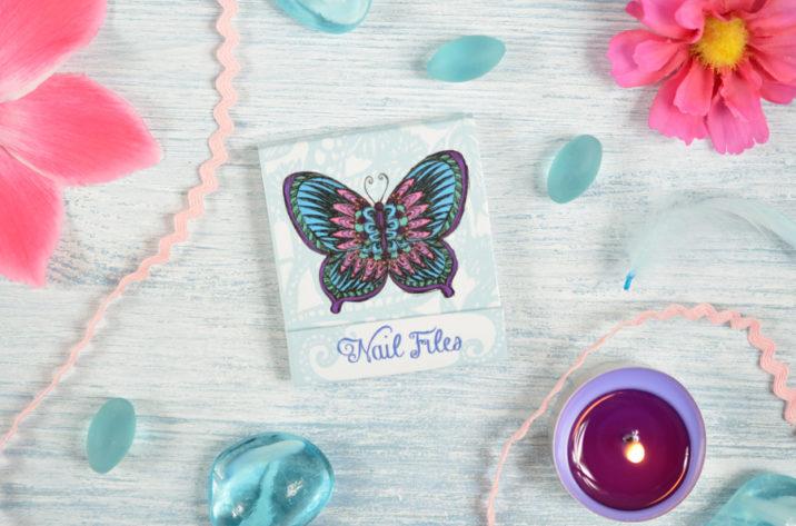 Zestaw pilniczków do paznokci Motyle – niebieski
