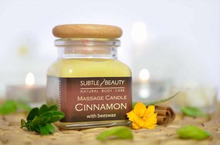 Świeca do masażu o ciepłym, zmysłowym zapachu cynamonu