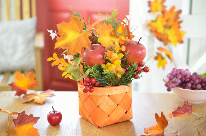 Jesienna dekoracja w koszyku