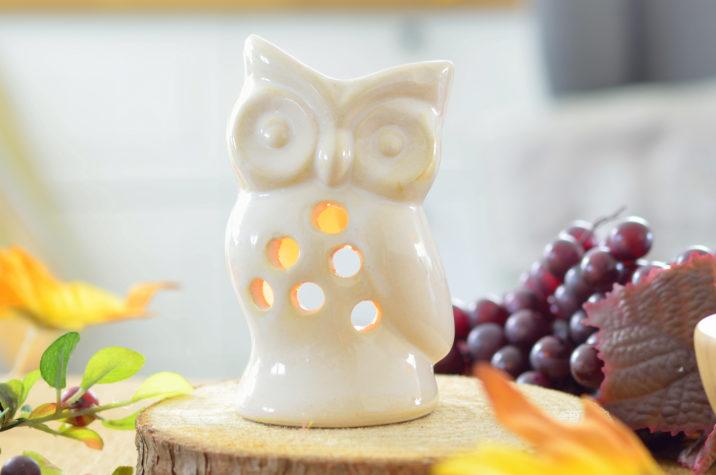 Kominek do aromaterapii Sowa – kremowy