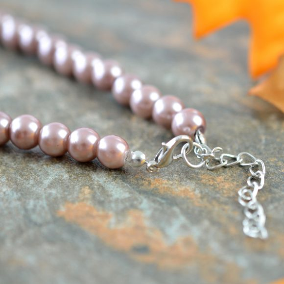 Naszyjnik perłowy brąz