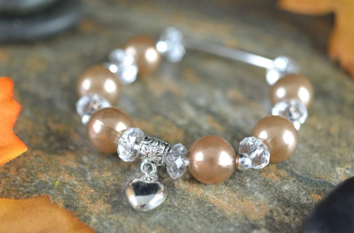 Bransoletka perłowy brąz
