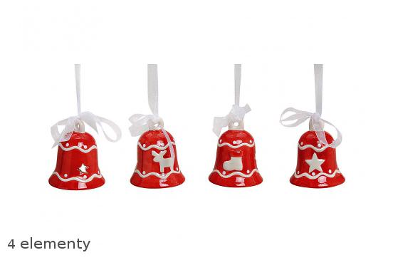 Komplet 4 ceramicznych dzwoneczków na choinkę