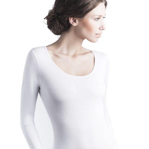 Body z długim rękawem, białe