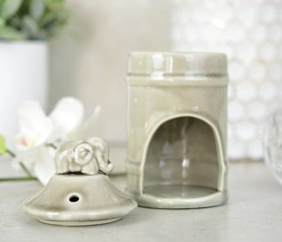 Kominek do aromaterapii Słoń - szary