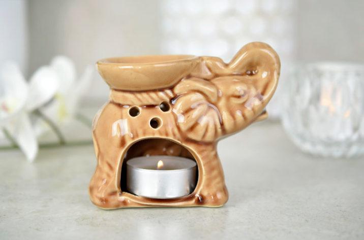 Kominek do aromaterapii mały słonik – brązowy