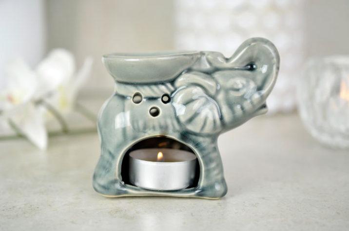 Kominek do aromaterapii mały słonik - szary