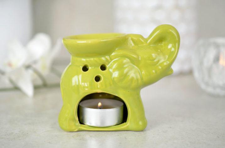 Kominek do aromaterapii mały słonik - zielony