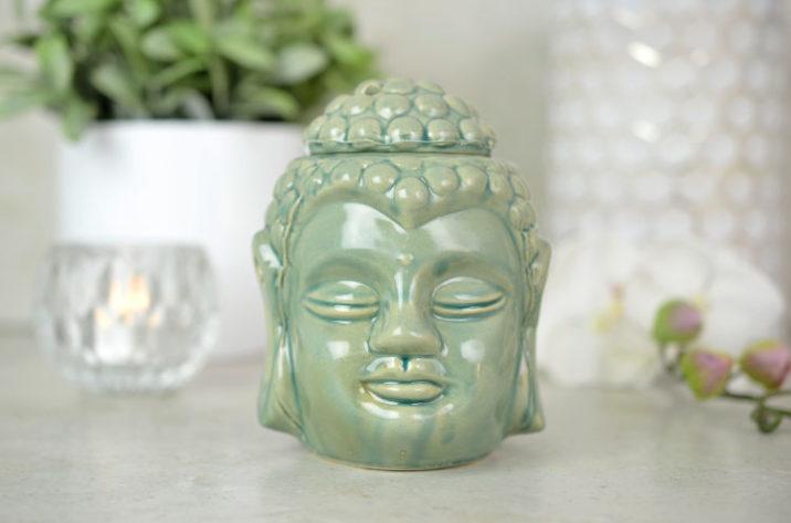 Kominek do aromaterapii Głowa Buddy - zielony
