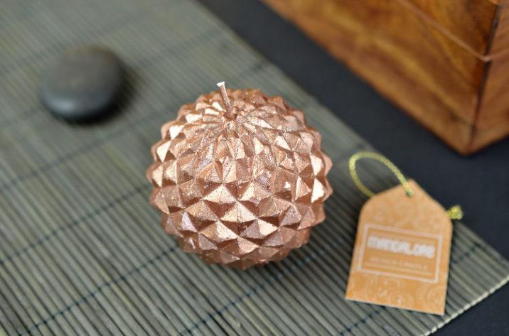 Świeczka dekoracyjna kula - miedź