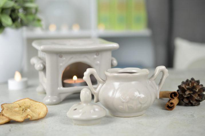 Kominek do aromaterapii Rustykalny – szary