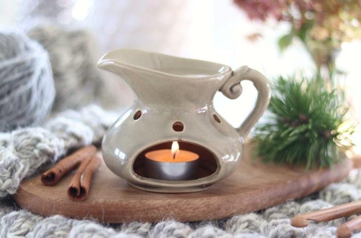 Kominek do aromaterapii - wiejski dzbanek - beżowy