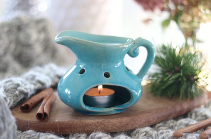 Kominek do aromaterapii – wiejski dzbanek – niebieski