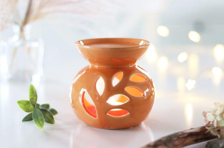 Kominek do aromaterapii Floral - pomarańczowy