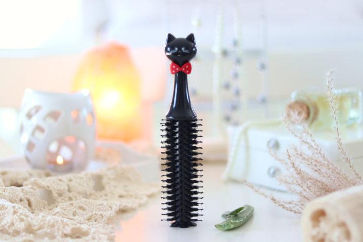 Okrągła szczotka do modelowania włosów Gentle Cat - czarna